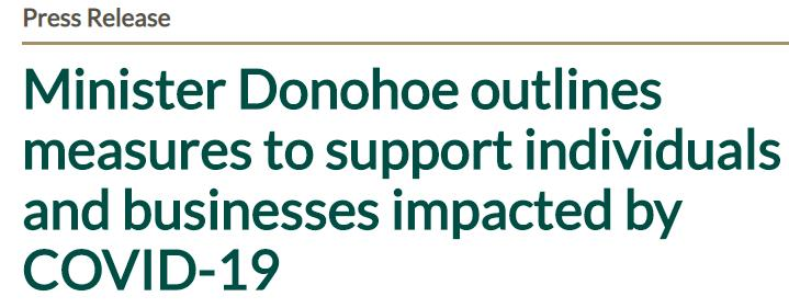 Minister Donohoe outlines measures to support individuals and businesses impacted by COVID-19
