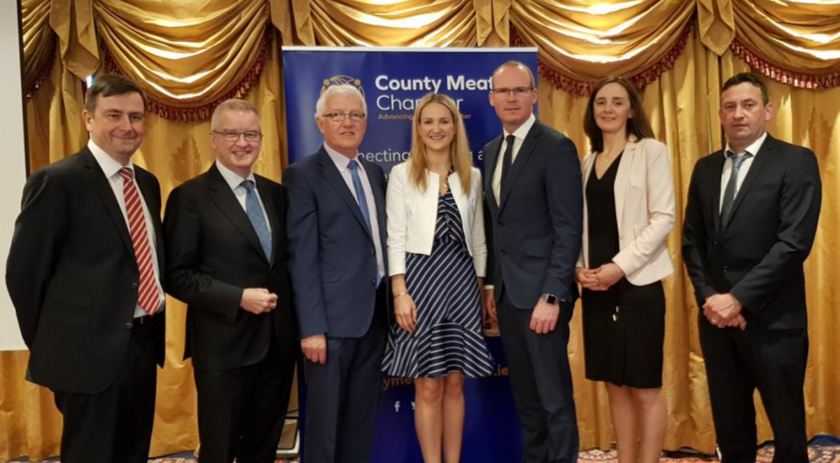 BREXIT Breakfast Briefing 23rd May 2018 Ardboyne Hotel. Left to Right: Damian McDonnell, Director General of IFA.  John McGrane, CEO British Irish Chamber of Commerce.  John V Farrelly, President County Meath Chamber.  Minister Helen McEntee, Foreign Affairs and BREXIT.  Táiniste Simon Coveney. Paula McCaul, CEO County Meath Chamber. John Curran, Chairperson IFA Meath