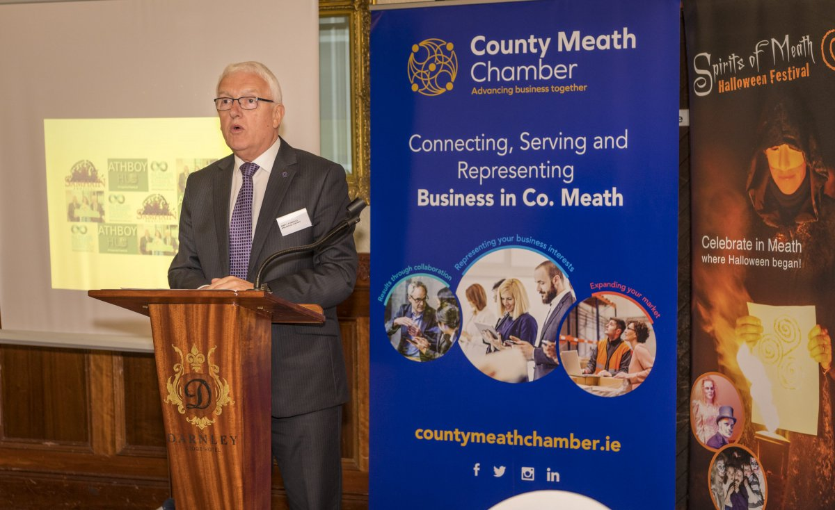 John V Farrelly Chairperson of County Meath Chamber introduces the business community of Athboy to the February Chamber Business Lunch in The Darnley Lodge Hotel