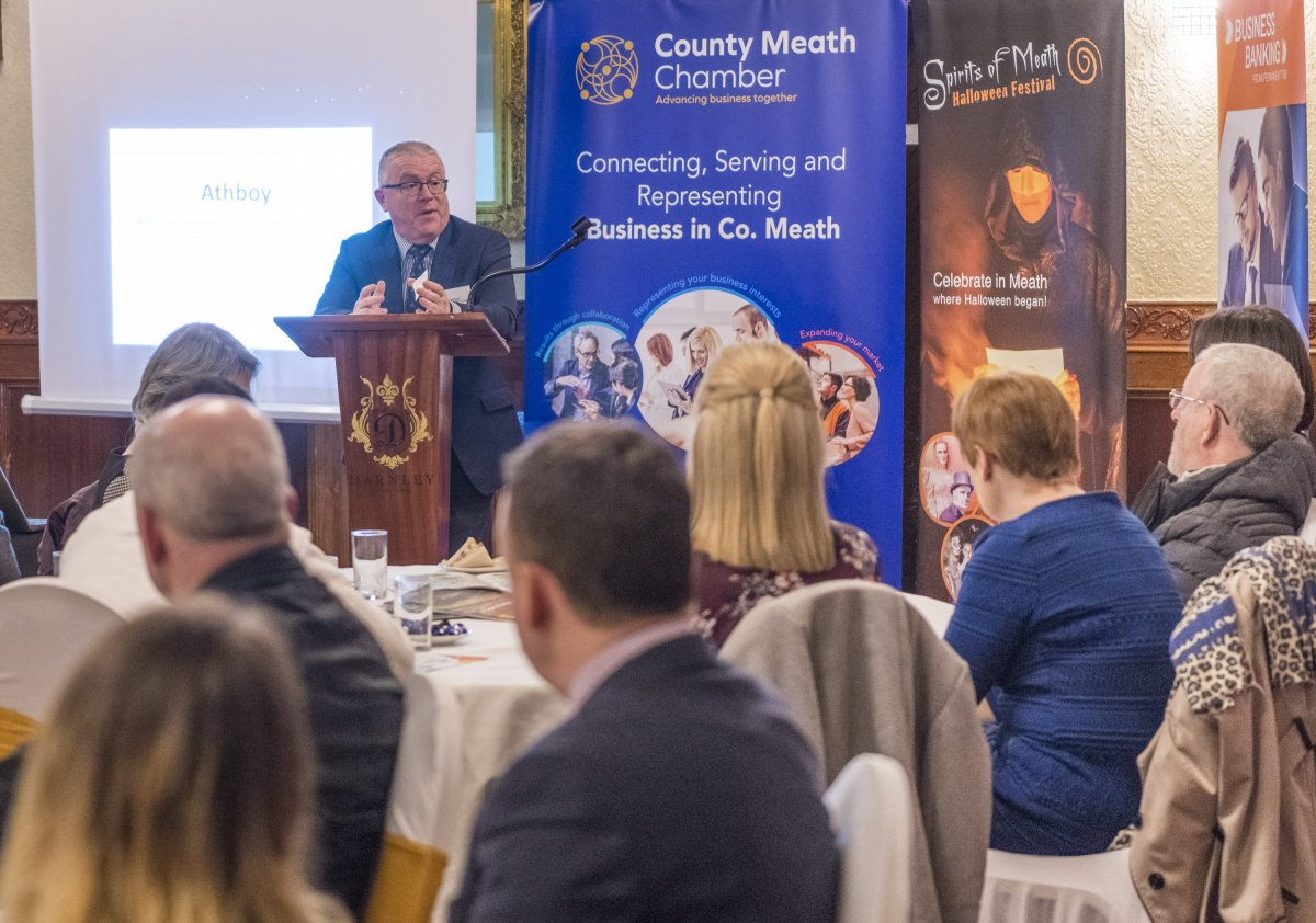Kevin Stewart MCC address the business community of Athboy at the February Chamber Business Lunch
